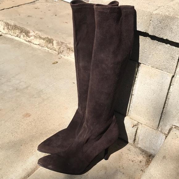 d7f21eef77c Stuart Weitzman dk brown suede mid calf boots 8.5.  M 5aca977946aa7c529a5f11f1